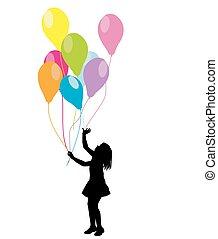 ballons, girl, silhouette
