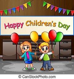 ballons, jour, heureux, enfants, enfants, concept, tenue