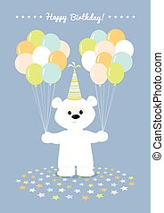 ballons, ours peluche, blanc