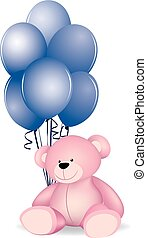ballons, ours, teddy