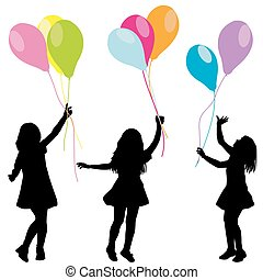 ballons, silhouettes, filles