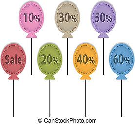 balloon, étiquettes, vente