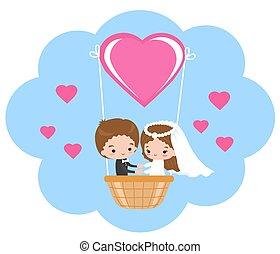 balloon., air chaud, mariage