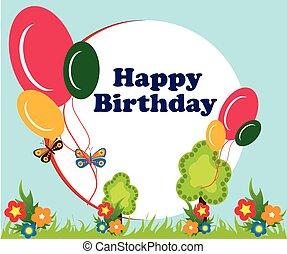 balloon, anniversaire, cadre, fond