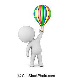 balloon, caractère, air, chaud, petit, 3d