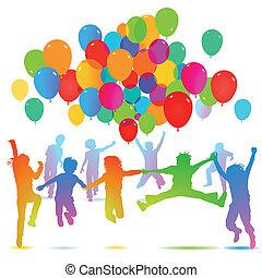 balloon, enfants, anniversaire