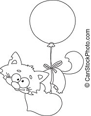 balloon, esquissé, chaton