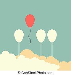 balloon, foule, dehors, voler, stile., loin, une, différent, concept, vecteur, ballons, stand, eps10, illustration, retro, autre, blanc rouge, minimaliste