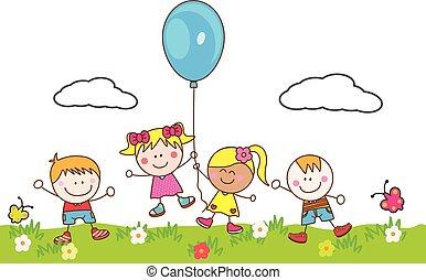 balloon, gosses, parc, jouer, heureux