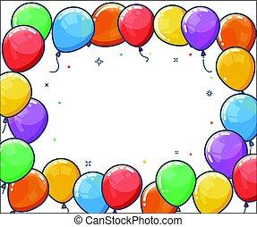 balloon, hélium, frame., coloré