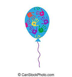 balloon, handprints