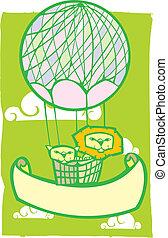balloon, heureux, bannière, lion