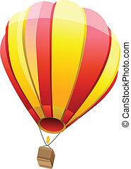 balloon, isolé, air, chaud, fond, blanc