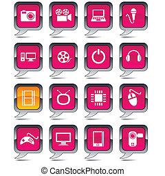 balloon, multimédia, icons.