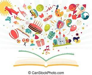 balloon, voler, fusée, -, air, imagination, concept, avion, livre ouvert, dehors