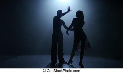 ballroom-sport, silhouette, danse, couple, ballroom., élément, fumée, programme