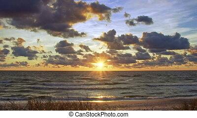 baltique, coucher soleil, mer