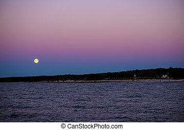 baltique, sur, entiers, mer, lune
