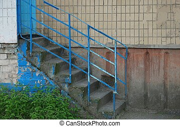 balustrade, fer, bleu, étapes, béton, gris, escalier, vieux