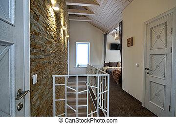 balustrade, maison, portes, contemporain, escalier, spacieux, style., intérieur, couloir, salle, moderne