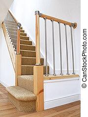 balustrade, typique, escalier, britannique, chrome, royaume-uni