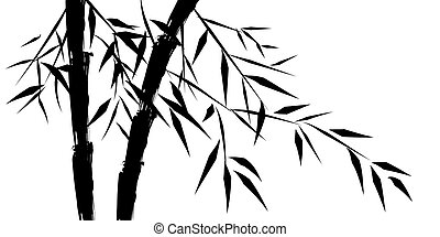 bambou, conception, chinois, arbres