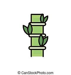 bambou, feuilles, feuillage, arbre, nature, dessin