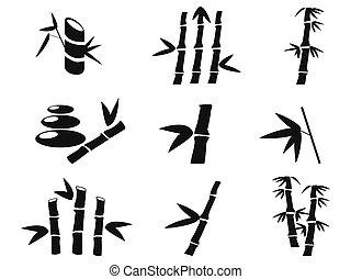 bambou, noir, icônes
