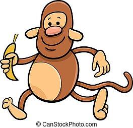 banane, dessin animé, illustration, singe