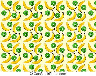 bananes, kiwi, arrière-plan., impression, seamless, modèle, dehors., blanc