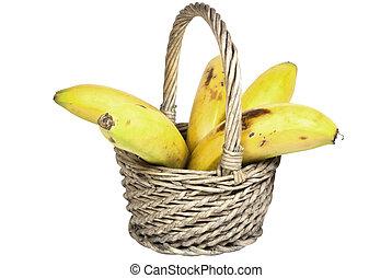 bananes, mûre, osier, cinq, panier, tissé