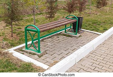 banc, bois, stands, parc