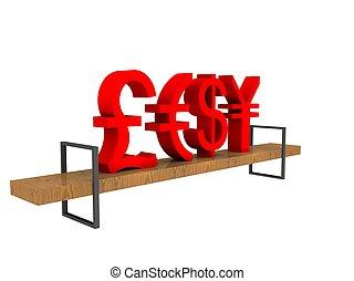 banc, devises, illustration, commercer