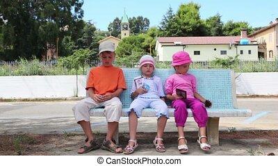 banc, enfants, trois, séance