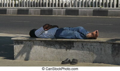 banc, rue, sommeil homme