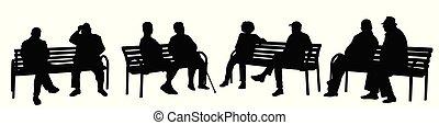 banc, silhouettes, séance gens