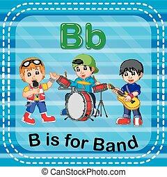 bande, b, lettre, flashcard