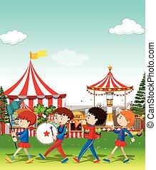 bande, cirque, jouer