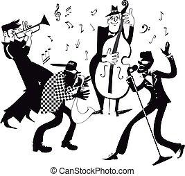bande, clip-art, jazz