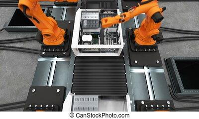 bande, convoyeur, montage, business, beau, technologie, 3d, animation., automatisé, uhd, belt., cas, 3840x2160., robotique, informatique, process., moderne, concept., avancé, 4k, bras, industriel