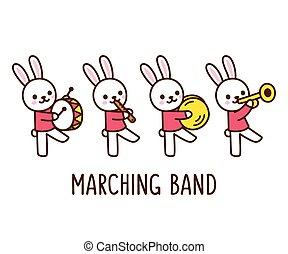 bande, dessin animé, lapin, marcher
