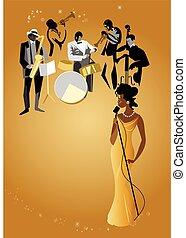 bande, &, femme, chanteur jazz