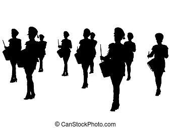 bande, filles, tambours