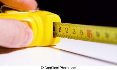 bande, jaune, mesurer, mesure