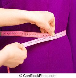 bande, mannequin., mesurer, mode, fonctionnement, concepteur