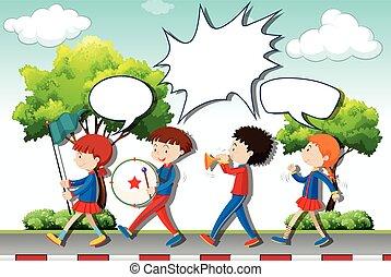 bande musique, jouer, enfants