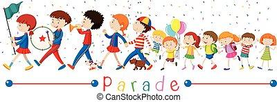 bande, parade, enfants
