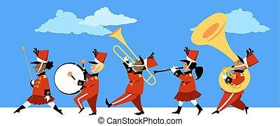 bande, parade, marcher