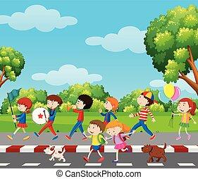 bande, parc, enfants, marcher