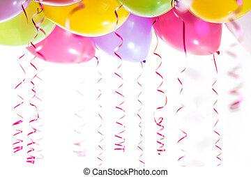 banderoles, isolé, anniversaire, fond, fête, blanc, ballons, célébration